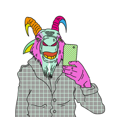 Fashion illustration of goat making photo with a smartphone Vector