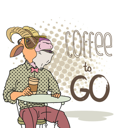 Fashion illustration of goat with cup of coffee Vector