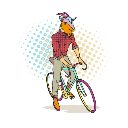 style goatee: Fashion illustration of goat hipster on a bicycle