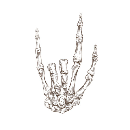 Skeleton hand heavy metal, vector illustration Vector