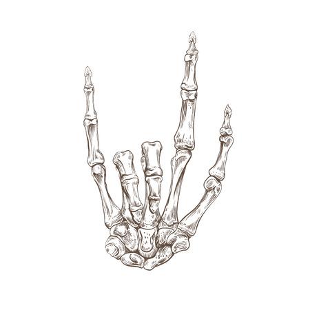 Skeleton hand heavy metal, vector illustration Vector