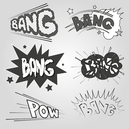 Set comic book explosion, vector illustration Vector