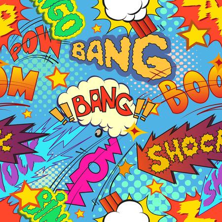 Comic book explosion pattern, vector illustration Vettoriali