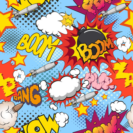 Comic book explosion pattern, vector illustration Çizim