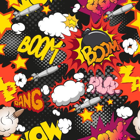 petard: Comic book explosion pattern, vector illustration Illustration