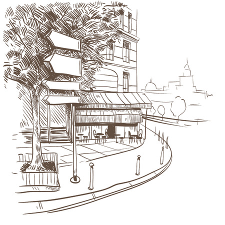 bakery store: City hand drawn, vector illustration