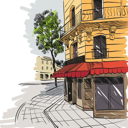 都市手描き、ベクトル イラスト
