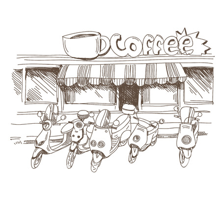 Coffee house hand drawn, vector illustration Vector