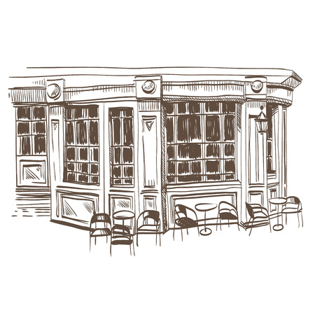 Cafe hand drawn, vector illustration Vector