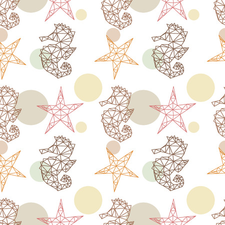Marine seamless pattern with seahorses and starfish backgrounds, vector illustration Vector