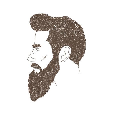 白い背景で隔離されたひげを生やした男性手描き  イラスト・ベクター素材