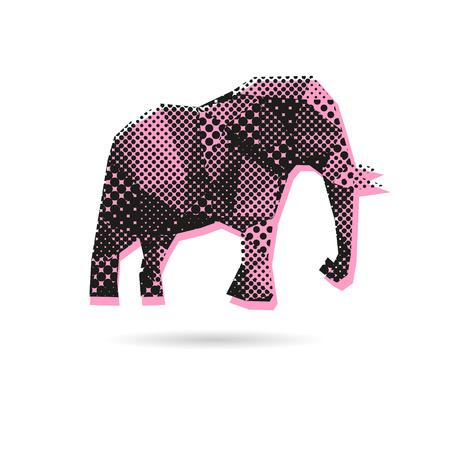 siluetas de elefantes: Elefante abstracto aislado sobre fondos blancos, ilustración vectorial