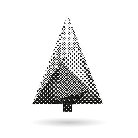 Extracto del árbol de abeto aislado en un fondos blancos, ilustración vectorial