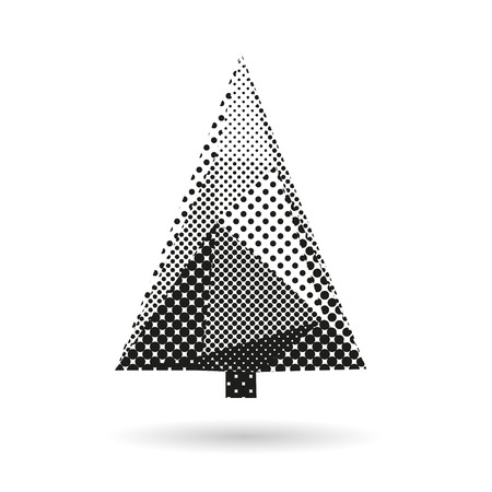 Fir tree abstract isolated on a white backgrounds, vector illustration