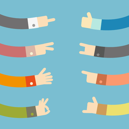 Set of flat hands design, vector illustration Vector