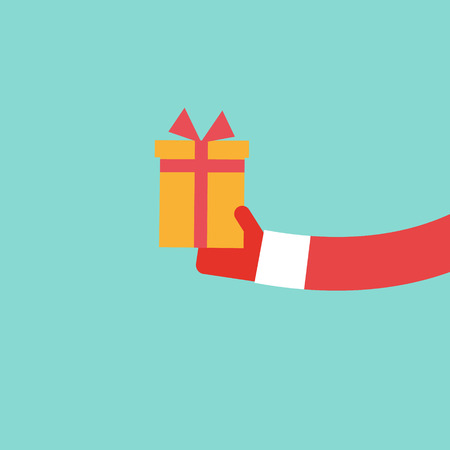 holds: Santa Claus holds present flat design, vector illustration