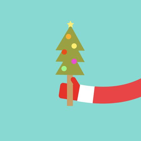 Weihnachtsmann hält Weihnachtsbaum flaches Design, Vektor-Illustration Standard-Bild - 33501154