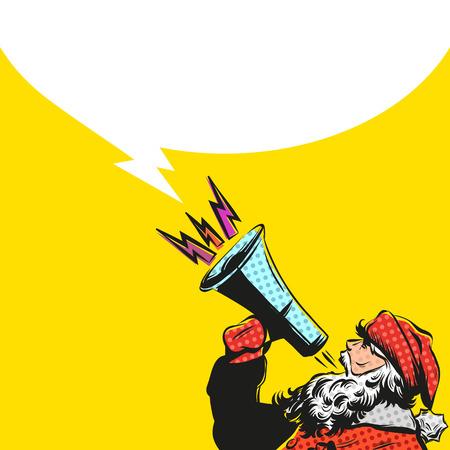 clip art santa claus: Santa Claus hand drawn with loudspeaker, vector illustration