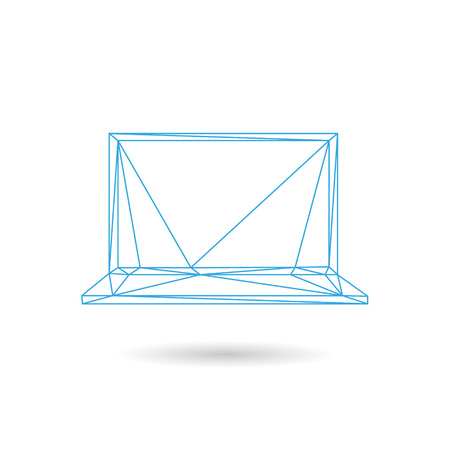 keypad: Laptop icon abstract isolated on a white backgrounds, vector illustration Illustration