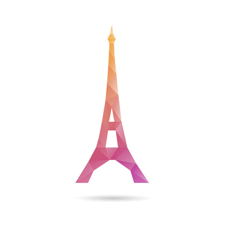 Eiffel Tower abstract isolated on a white backgrounds, vector illustration