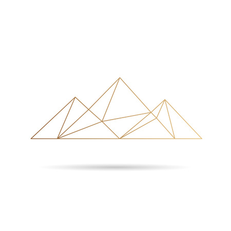 hill top: Egypt pyramids icon abstract isolated on a white backgrounds, vector illustration