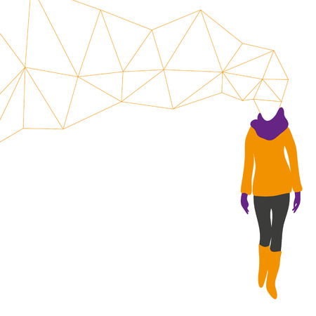 defile: Fashion woman abstract, vector illustration