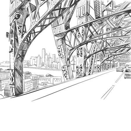 city background: Bridge hand drawn, vector illustration