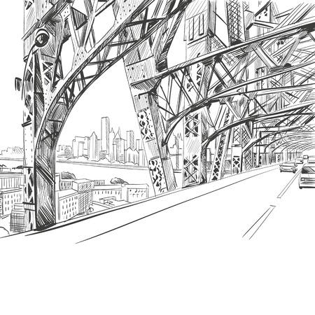 Bridge hand drawn, vector illustration