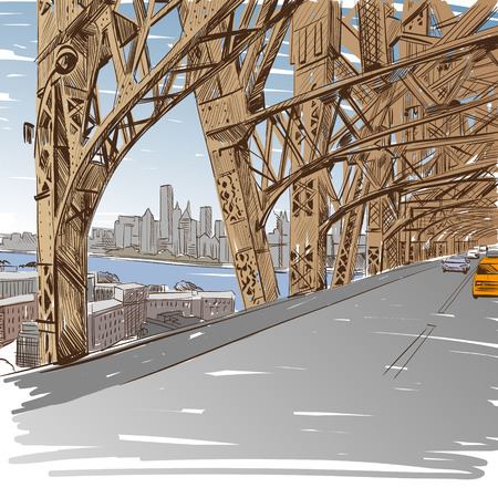 bridge hand: Bridge hand drawn, vector illustration