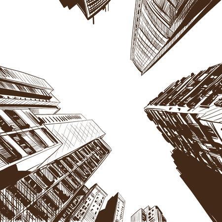 Office building hand drawn, vector illustration