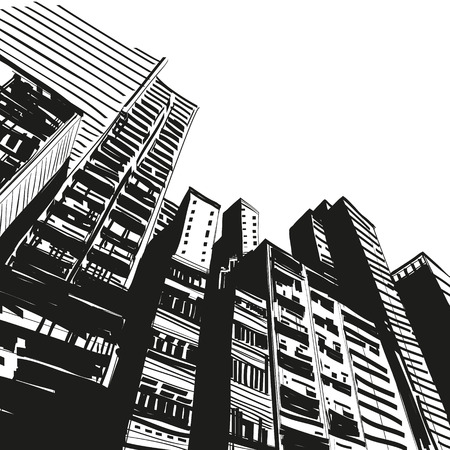 city scape: Office building hand drawn, vector illustration