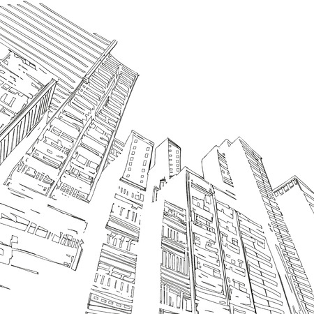 building background: Office building hand drawn, vector illustration