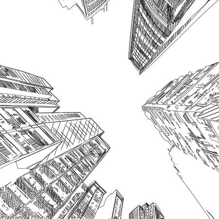 事務所ビルの手描き、ベクトル イラスト