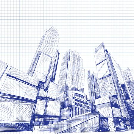 logo batiment: Immeuble de bureaux tir� par la main, illustration vectorielle