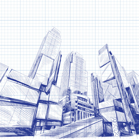 city building: Office building hand drawn, vector illustration