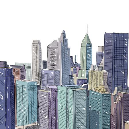 Office building hand drawn, vector illustration Vector