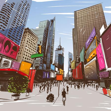 comico: Ciudad dibujado a mano, ilustraci�n vectorial Vectores