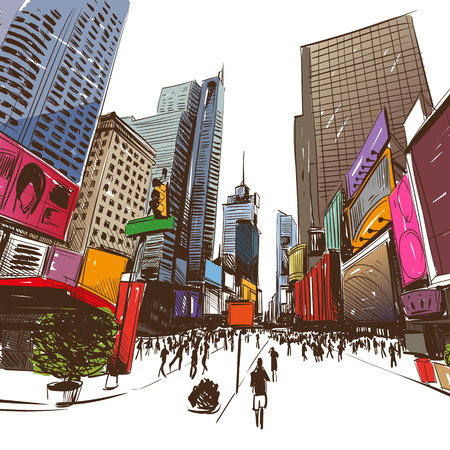city center: City hand drawn, vector illustration