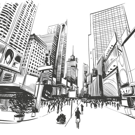 city background: City hand drawn, vector illustration