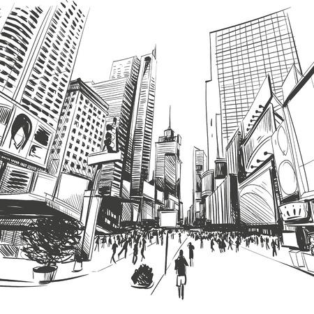 new york street: Ville dessin�s � la main, illustration vectorielle Illustration