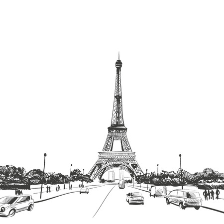 building sketch: Eiffel Tower hand drawn, vector illustration