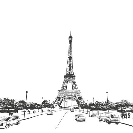 Eiffel Tower hand drawn, vector illustration