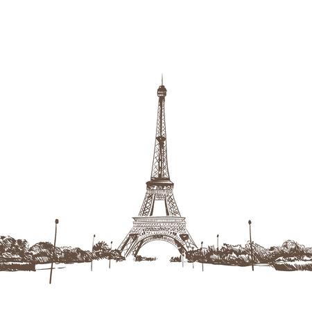 Eiffel Tower hand drawn, vector illustration Vector