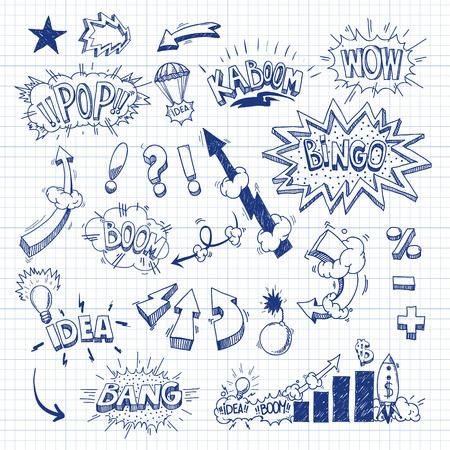 bingo: Establecer libro explosión dibujado a mano, ilustración vectorial comic