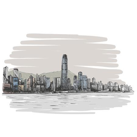 hong kong street: Hong Kong hand drawn, vector illustration