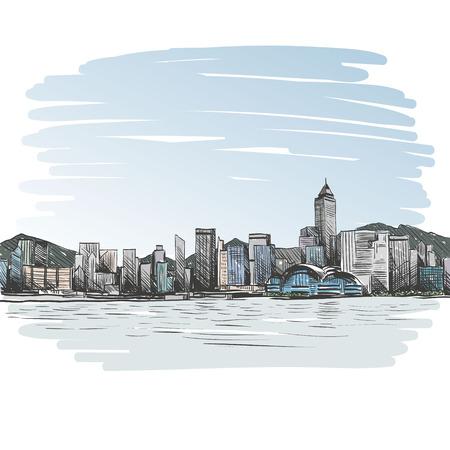 ciudad: Hong Kong dibujado a mano, ilustración vectorial Vectores