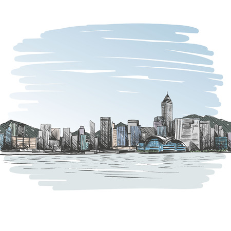 city: Hong Kong hand drawn, vector illustration