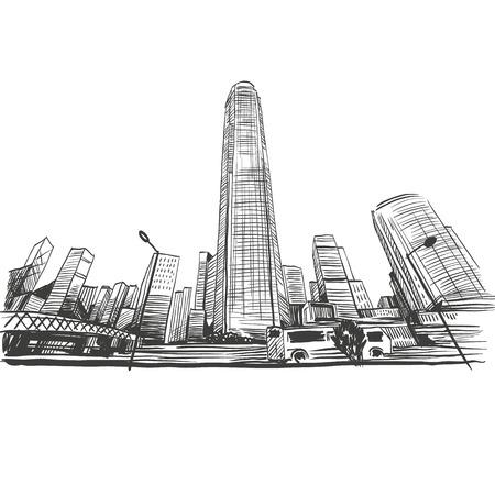 Hong Kong の手描き、ベクトル イラスト