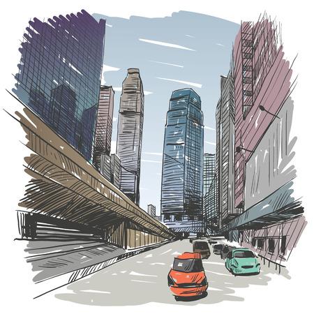 Hong Kong hand drawn, vector illustration