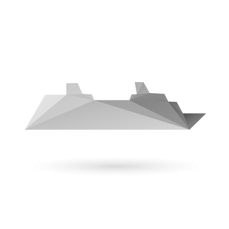 keel: Ship abstract isolated on a white backgrounds, vector illustration